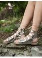 Mecrea Gladyatör Sandalet Gümüş